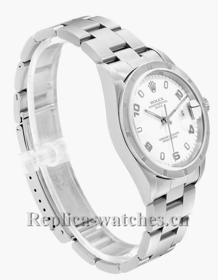 Replica Rolex Date 15210 White Dial Engine Turned Bezel Steel 34mm Mens Watch