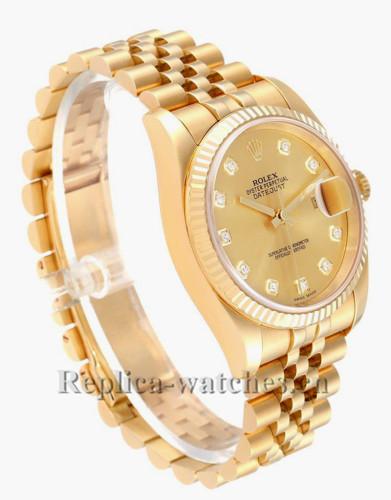 Replica Rolex Datejust 116238 Yellow Gold Champagne Diamond Dial 36mm Mens Watch