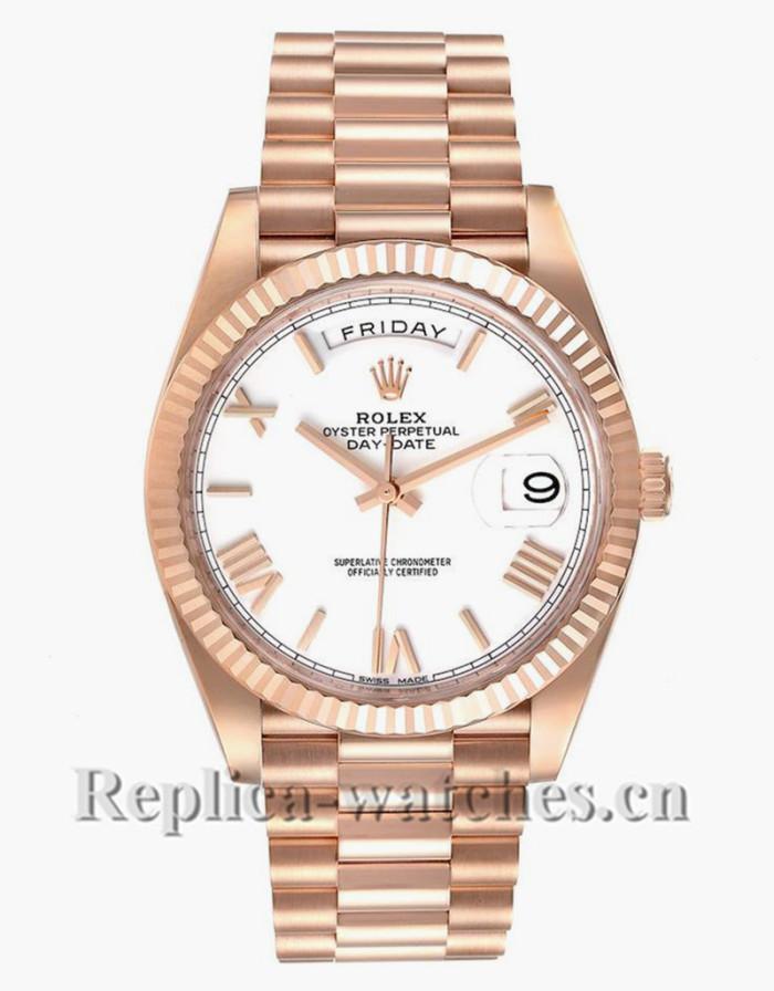 Replica Rolex Day-Date 228235  Rose Gold case White Dial Mens 40mm Watch Unworn