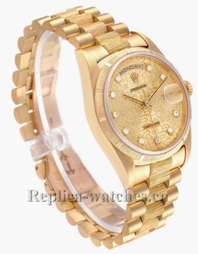 Replica Rolex President Day-Date 18248 bark finish bezel 36mm Champagne  dial Mens Watch