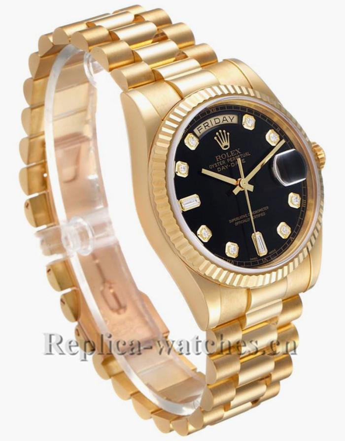Replica Rolex President Day Date 11823 fluted bezel Black dial  36mm Mens Watch