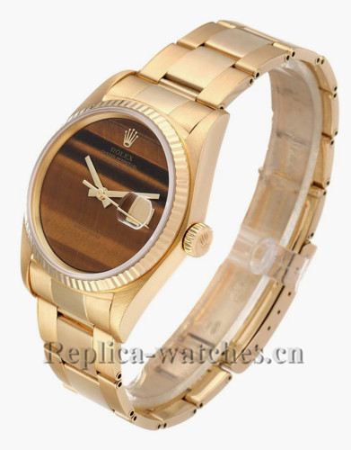Replica Rolex Datejust 16018 yellow gold case 36mm Tiger Eye Dial Vintage Mens Watch