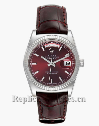 Replica Rolex President Day-Date 118139 Burgundy leather strap White Gold Burgundy Dial Watch