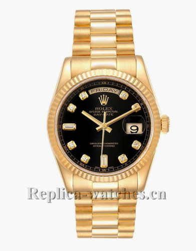 Replica  Rolex President Day Date 118238 Oyster case 36mm Black dial Mens Watch Box