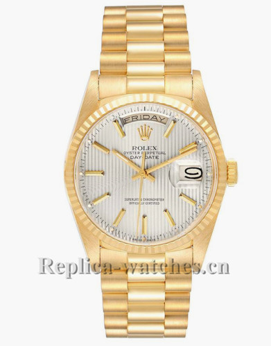 Replica Rolex President Day-Date 18238 Yellow gold oyster case 36mm Silver dial  Mens Watch