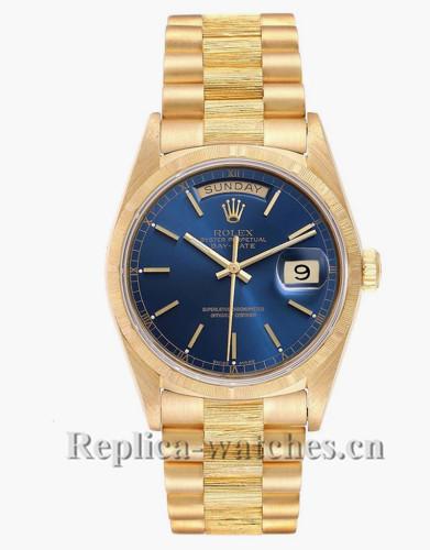 Replica Rolex President Day-Date 18078 Blue Dial bark finish bezel 36mm Mens Watch