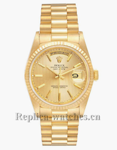 Replica Rolex President Day-Date 18238 oyster case 36mm Champagne tapestry dial  Mens Watch