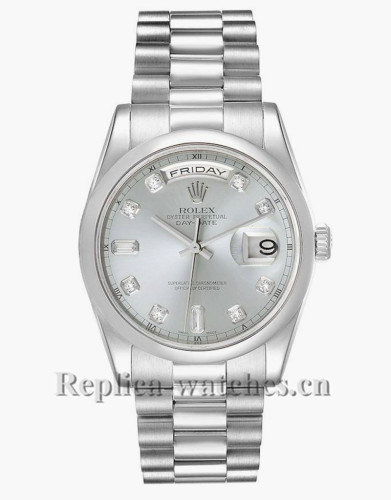 Replica  Rolex President Day-Date 118206 36mm Ice Blue Diamond Dial Mens Watch