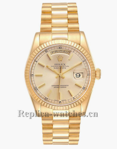 Replica Rolex President Day Date 118238 Champagne dial 36mm oyster case Mens Watch