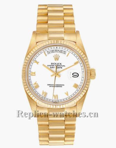 Replica Rolex President Day-Date 18038 bracelet hidden clasp 36mm White Dial Mens Watch