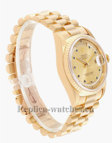 Replica Rolex President Day-Date 18238 champagne  dial  36mm String Diamond Sapphire Mens Watch