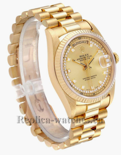 Replica Rolex President Day-Date 18238 champagne string diamond dial 36mm Mens Watch