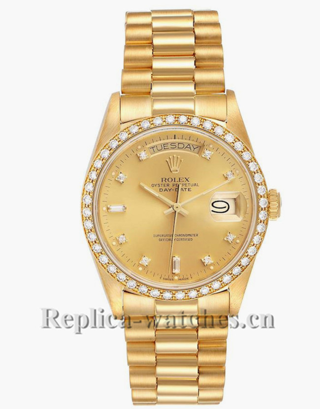 Replica Rolex President Day-Date 18048 champagne dial 36mm Diamond Bezel Mens Watch