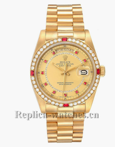 Replica Rolex President Day-Date 18148 diamond and ruby bezel champagne dial 36mm Mens Watch