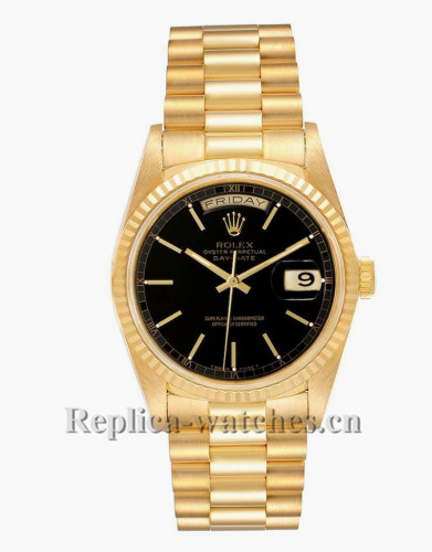 Replica Rolex President Day-Date 18238  Oyster case 36mm Black Dial Mens Watch