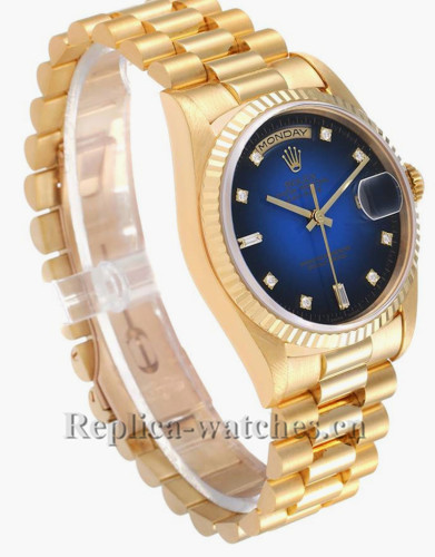 Replica Rolex President Day-Date 18238 Oyster case 36mm Blue vignette dial Mens Watch