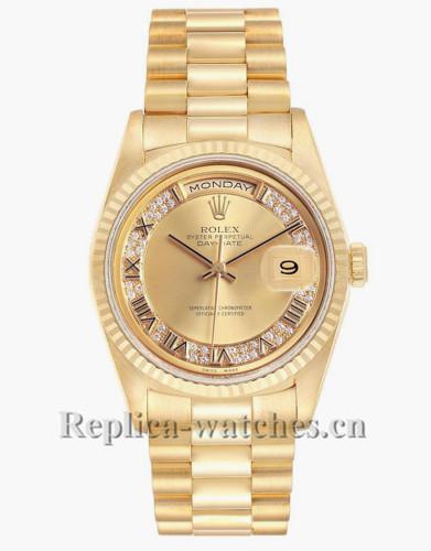Replica Rolex President Day-Date 18238 Champagne Myriad diamond dial 36mm  Mens Watch