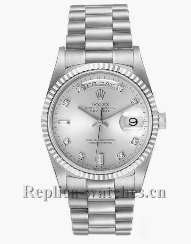 Replica Rolex President Day-Date 18239 Silver dial 36mm White Gold Diamond Mens Watch