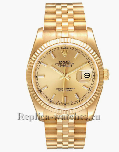 Replica Rolex Datejust 116238  Champagne Dial 36mm Mens  Movement Watch  Box Papers