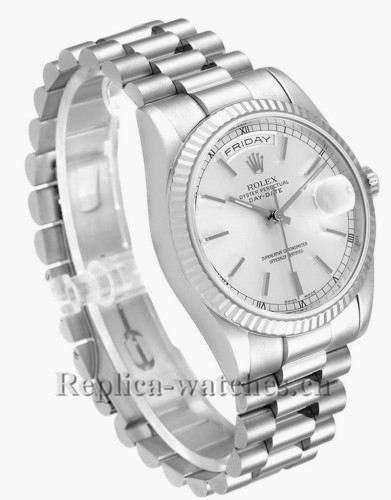 Replica Rolex President Day Date 118239 36mm  oyster case Silver Dial Mens Watch