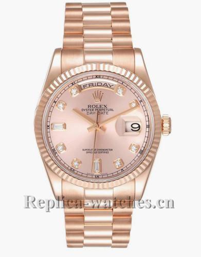 Replica Rolex President Day Date 118235 36mm Everose Gold Diamond Pink dial   Mens Watch