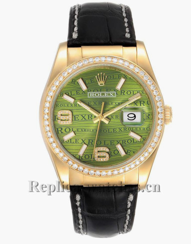 Replica Rolex President Day-Date 116188   Black leather strap 36mm Green  Dial Mens Watch