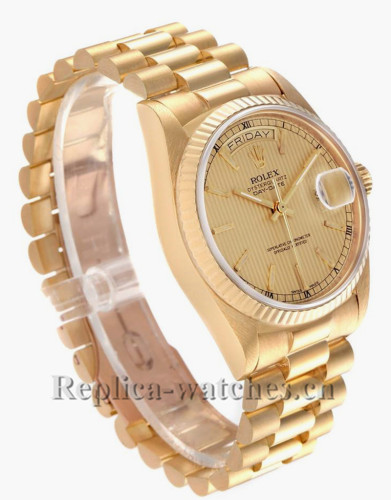 Replica Rolex President Day-Date 18038 36mm  Champagne tapestry dial Mens Movement Watch