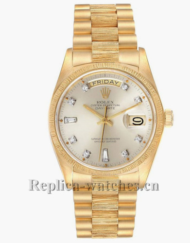 Replica Rolex President Day-Date 18078 Silver dial 36mm Bark Finish Mens Watch