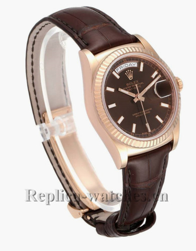 Replica Rolex President Day-Date 118135 Brown leather strap 36mm Chocolate dial  Mens Watch