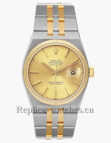 Replica Rolex Oysterquartz Datejust 17013 Steel oyster case 36mm Champagne dial Mens Watch