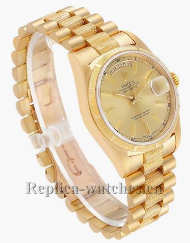 Replica Rolex President Day-Date 18248 36mm Bark finish  Mens Champagne dial Watch  Box