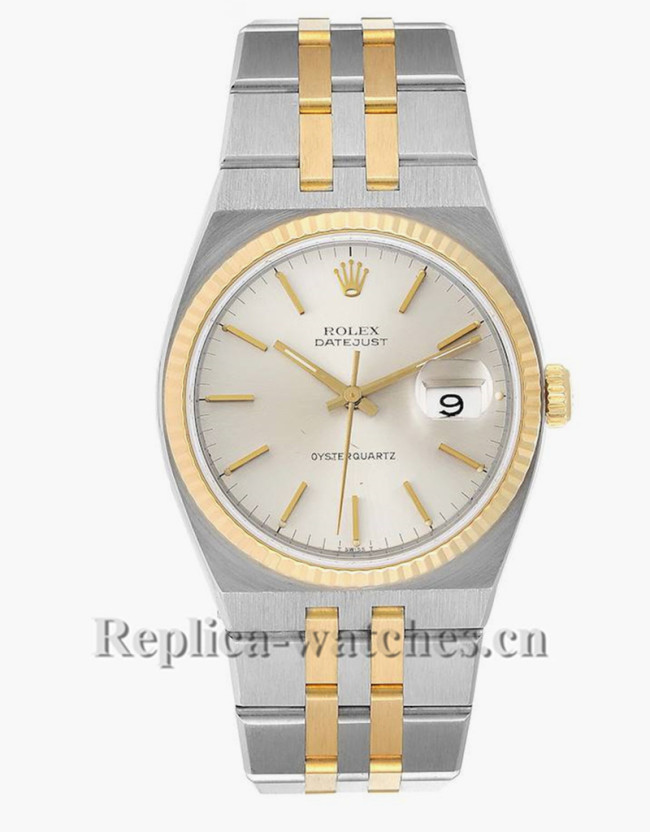 Replica Rolex Oysterquartz Datejust  17013 Steel oyster case 36mm  Silver dial Mens Watch