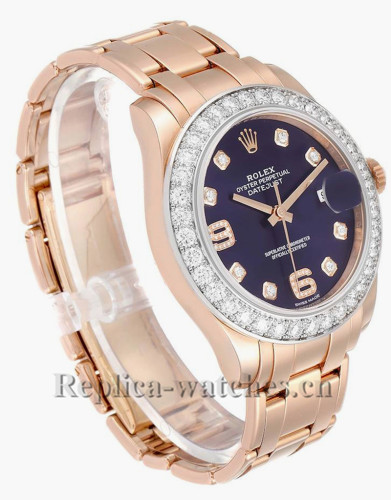 Replica Rolex Pearlmaster 86285  Cyclops magnifier 39mm purple dial  Mens Watch Box Card