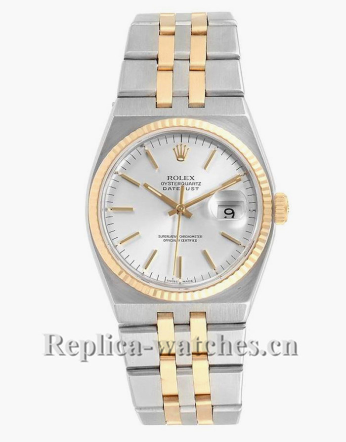 Replica Rolex Oysterquartz Datejust 17013 Silver Dial 36mm Steel oyster case Mens Watch