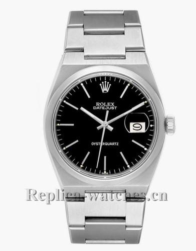 Replica Rolex Oysterquartz Datejust 17000 Black Dial 36mm Vintage Steel Mens Watch