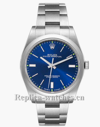 Replica Rolex Oyster Perpetual 114300  smooth domed  39mm Automatic Blue dial Mens Watch