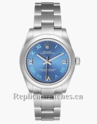 Replica Rolex Oyster Perpetual Midsize 177200  Stainless steel oyster bracelet 31mm Blue Dial  Ladies Watch