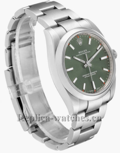 Replica Rolex Oyster Perpetual  114200 Stainless steel oyster bracelet 34mm Olive Green Dial Mens Watch