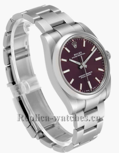 Replica Rolex Oyster Perpetual 114200 domed bezel 34mm Red Grape Dial Mens Watch