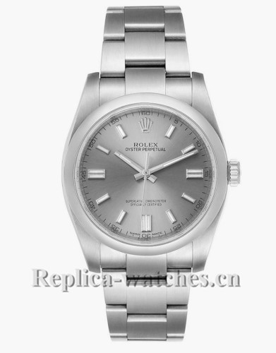 Replica Rolex Oyster Perpetual 116000 Rhodium Dial Stainless steel case 36mm Mens Watch