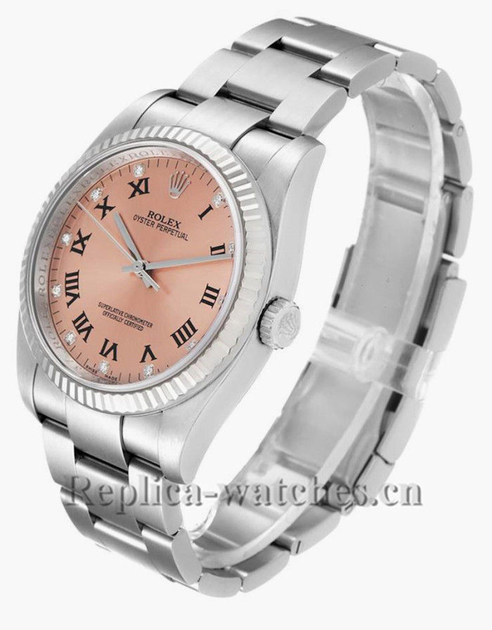 Replica Rolex Oyster Perpetual 116034 Stainless steel case 36mm  Salmon Diamond Dial Mens Watch