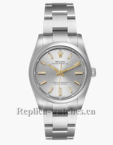 Replica Rolex Oyster Perpetual 124200 Stainless steel oyster bracelet 34mm Silver Dial  Mens Watch