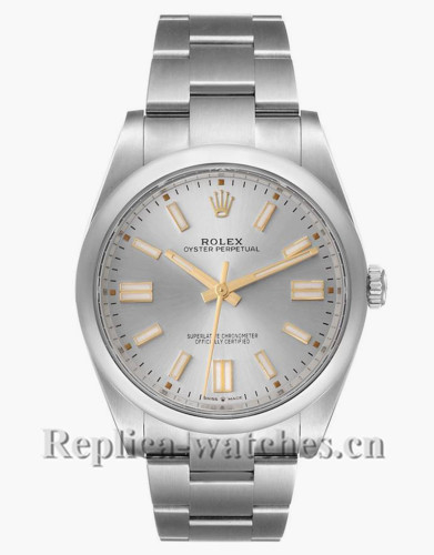 Replica Rolex Oyster Perpetual 124300  domed bezel 41mm Silver dial Automatic  Mens Watch Unworn