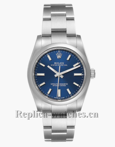 Replica Rolex Oyster Perpetual 124200  Stainless steel case 34mm Blue Dial Mens Watch