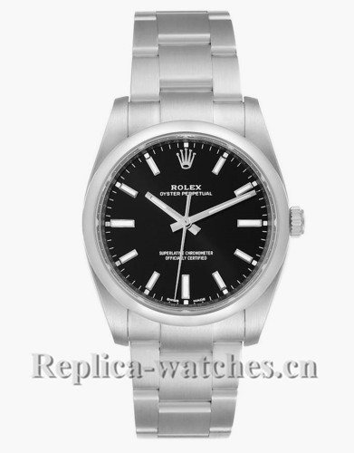 Replica Rolex Oyster Perpetual 114200  Stainless steel case 34mm Black Dial Mens Watch Box Card