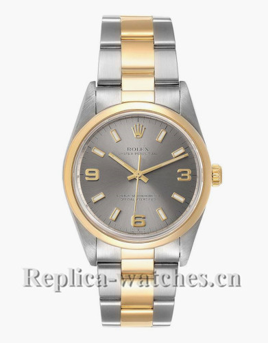 Replica Rolex Oyster Perpetual 14203  Domed Bezel  34mm Slate dial Mens Watch Box Papers