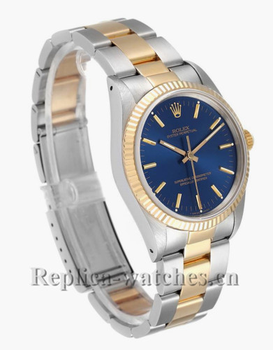 Replica Rolex Oyster Perpetual 14233 Stainless steel 34mm Blue Dial Mens Watch