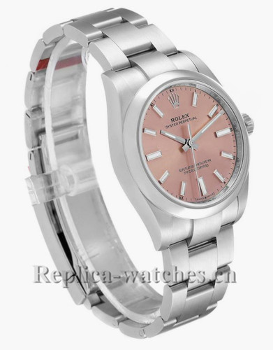 Replica Rolex Oyster Perpetual 124200 Stainless steel case 34mm Pink Dial Mens Watch