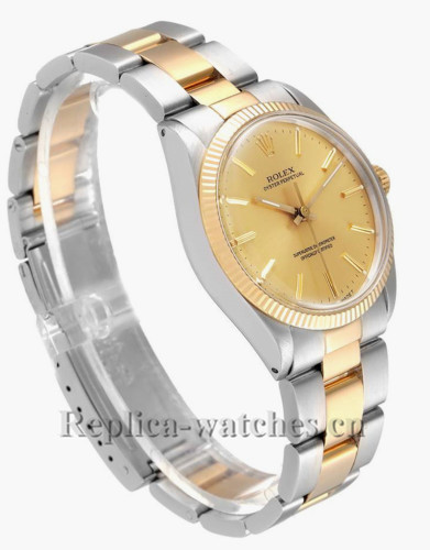 Replica Rolex Oyster Perpetual Steel 1005 Stainless steel case 34 Champagne dial Mens Watch