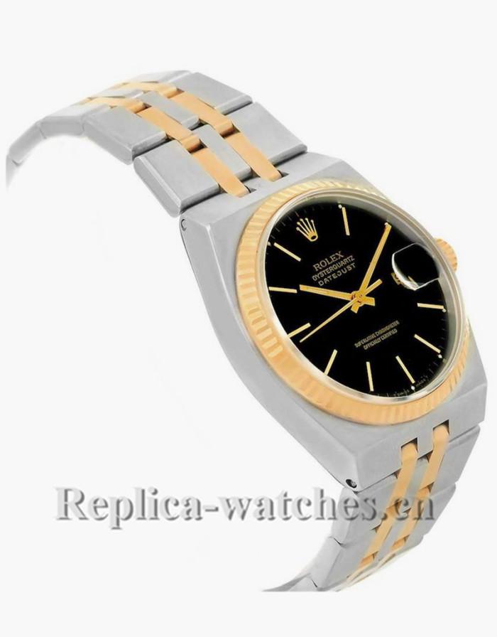 Replica Rolex Oysterquartz Datejust 17013 cyclops magnifyer 36mm Black Dial Mens Watch